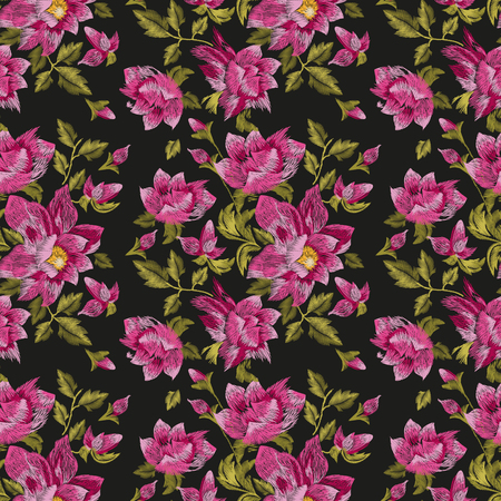 Embroidery colorful ethnic floral seamless pattern. Vector traditional folk dog roses flowers ornament on black background.