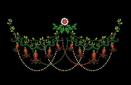 Kleurrijk de lijn bloemenpatroon van de borduurwerk kleurrijk met harebells. traditionele folk bell bloemen ornament op zwart.