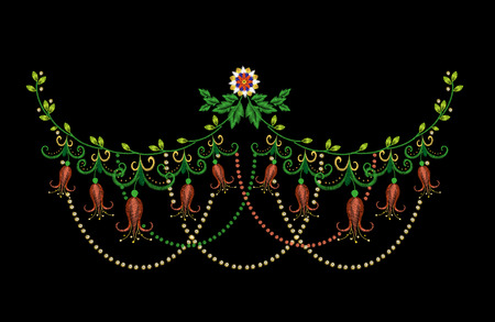 Embroidery colorful neck line floral pattern with harebells. traditional folk bell flowers ornament on black .