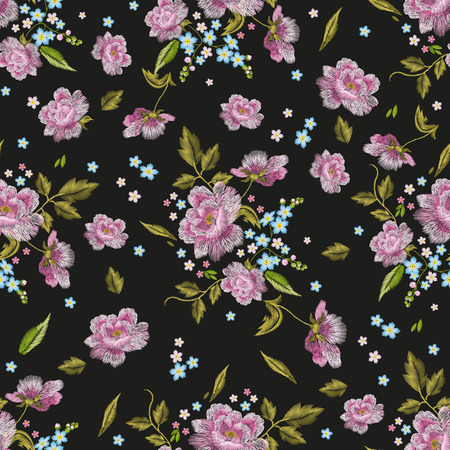 dog rose: Embroidery colorful  seamless pattern with dog roses and forget me not flowers. traditional folk fashion floral ornament on black layout.
