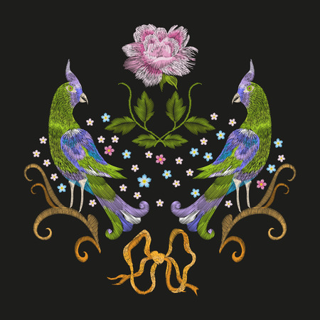 Embroidery colorful floral pattern with fantasy parrots. trend folk green love birds with flowers ornament on black. Illustration