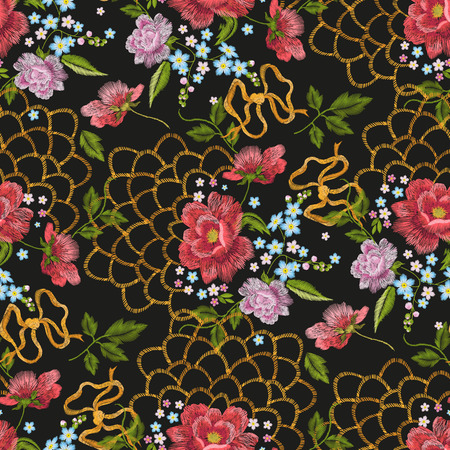 forget me not: Embroidery colorful trend floral seamless pattern. traditional folk dog roses, forget-me-not flowers with gold lace and bow-knot ornament on black layout.