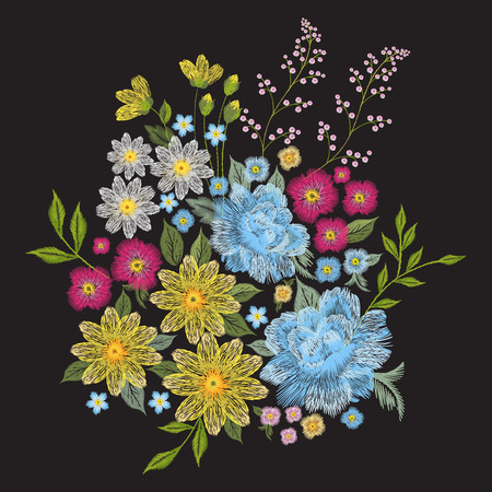 Embroidery colorful trend floral pattern. Vector traditional folk roses, chamomile, forget me not flowers bouquet on black background for clothing design. Ilustrace
