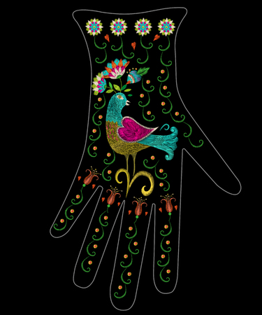 Embroidery colorful ethnic floral pattern on glove design. Vector traditional folk bird with flowers ornament on black background.