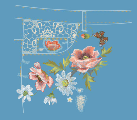 Embroidery colorful jeans botanical pattern with poppy and daisy flowers. Vector traditional folk flowers ornament with peacock butterfly on blue denim background.