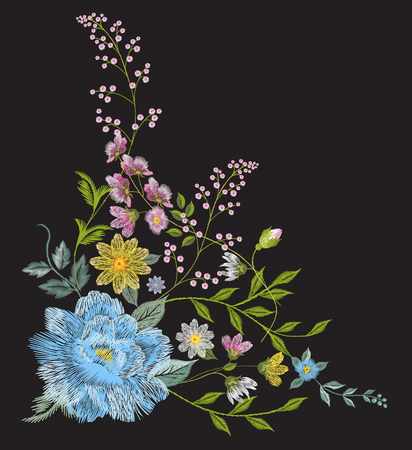 Embroidery colorful trend floral angle pattern. Vector traditional folk blue roses, chamomile, forget me not flowers bouquet on black background for clothing design.