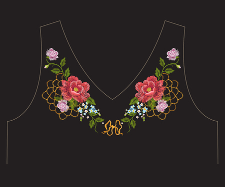 fancywork: Embroidery colorful romantic ethnic neck line floral pattern with roses and lace. Vector symmetric traditional folk flowers ornament on black background for design. Illustration