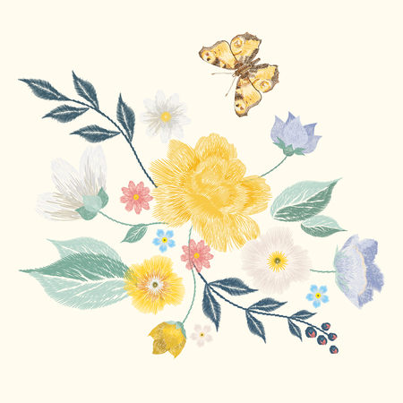 asymmetrical: Embroidery simplified floral pattern with butterfly and flowers. Vector asymmetrical traditional trend fashion ornament with leaves and various plants on beige background.