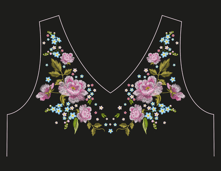 Embroidery traditional neck line floral pattern with roses and  forget me not flowers. Vector folk trend ornament on black background.