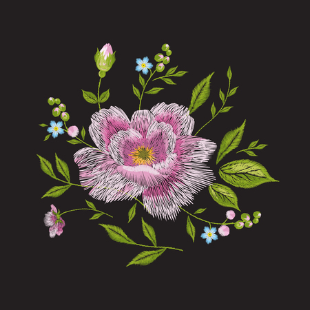 Embroidery colorful floral pattern with rose and forget me not flowers. Vector traditional folk fashion ornament on black background.