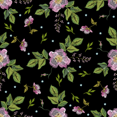 Embroidery folk seamless pattern with dog roses and forget me not flowers. Vector traditional floral ornament on black background for design.