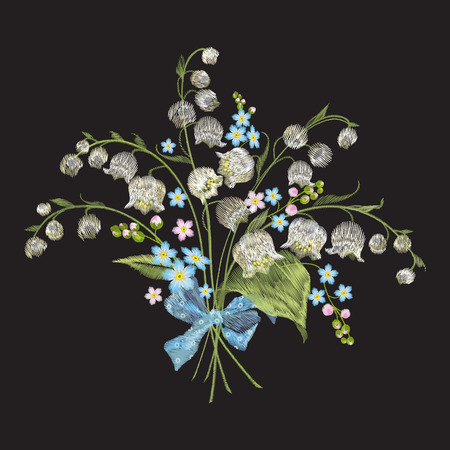 Embroidery colorful floral pattern with lilies of the valley and forget me not flowers. Vector traditional folk fashion ornament on black background.