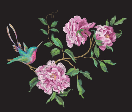 Embroidery fashion pattern with hummingbird on branch of exotic peonies. Vector embroidered floral ornament with bird on black background for clothing design. Illustration