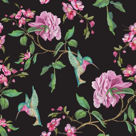 Hafciarski kwiecisty bezszwowy wzór z różą i hummingbird. Wektor haftowane patche z kwiatów i ptaków do projektowania odzieży.