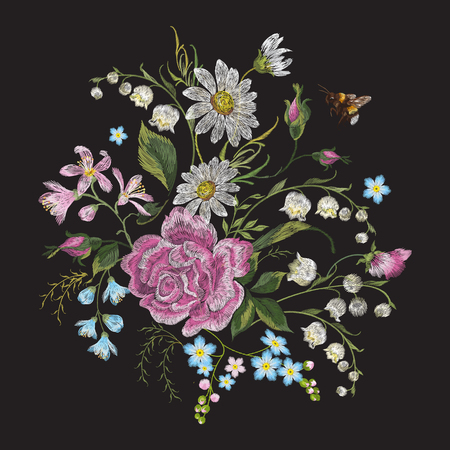 Embroidery brigt trend floral pattern with bee. Vector traditional folk roses, lilies and forget me not flowers bouquet on black background for clothing design.