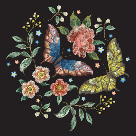 Embroidery colorful trend floral pattern with flowers and butterflies. Vector traditional folk roses and forget me not flowers bouquet on black background for design. Ilustrace