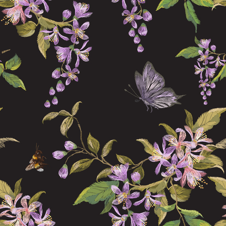 Embroidery floral seamless pattern with lilac blossom, butterfly and bee. Vector traditional embroidered design with flowers and insects on black background for fashion clothing.