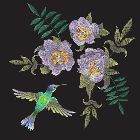ハチドリとエキゾチックな花と刺繍民族パターン。ファッションデザインのための黒の背景に鳥とベクター伝統的な民族の花の装飾。  イラスト・ベクター素材