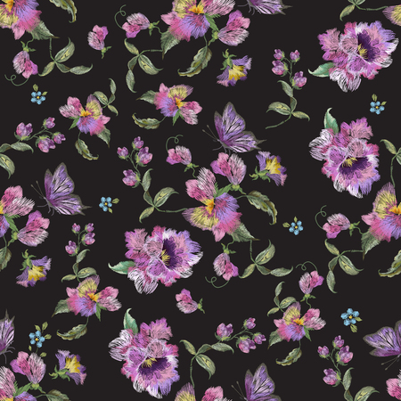 Embroidery trend floral seamless pattern with pansies and forget me not. Vector traditional folk flowers decor on black background for clothing design. Ilustrace