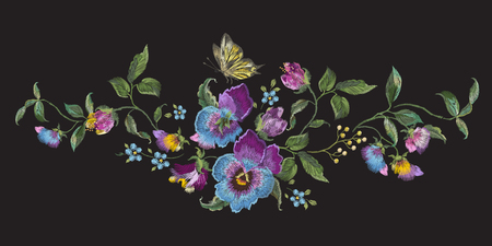 Embroidery landscape floral pattern with pansies and forget me not flowers. Vector traditional embroidered bouquet with butterfly on black background for clothing design.