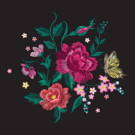 Embroidery brigth trend floral pattern with butterfly. Vector traditional folk roses and forget me not flowers bouquet on black background for clothing design.