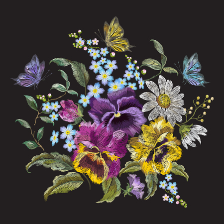 Embroidery trend floral pattern with pansies, chamomiles and forget me not flowers. Vector traditional embroidered bouquet with butterfly on black background for clothing design.