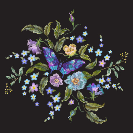 Embroidery bright trend floral pattern with  flowers and butterfly.  Vector traditional embroidered bouquet with folk roses and forget me not flowers on black background for clothing design.