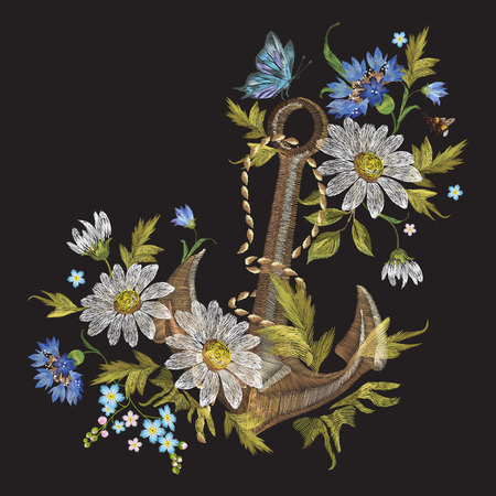 Embroidery marine pattern with flowers and anchor. Vector embroidered fashion floral illustration on black background for clothing design.
