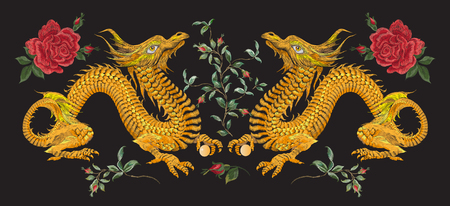 Embroidery oriental floral pattern with golden dragons and roses. Vector ethnic folk embroidered template with flowers and animals on black background for fashion design.