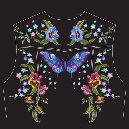 Embroidery trend floral pattern with pansies, forget me not flowers and butterfly for jeans jacket back. Vector traditional embroidered set with flowers on black background for clothing design. Ilustrace
