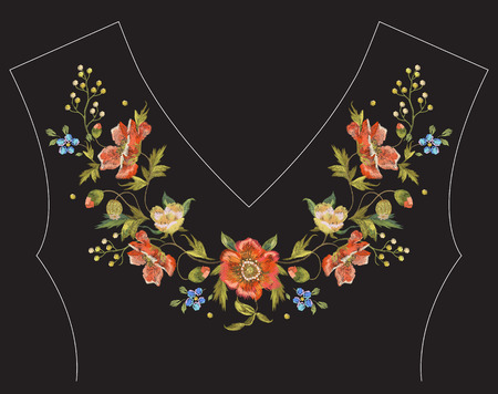 Embroidery floral neck line pattern with poppies. Vector embroidered traditional design with flowers for fashion.