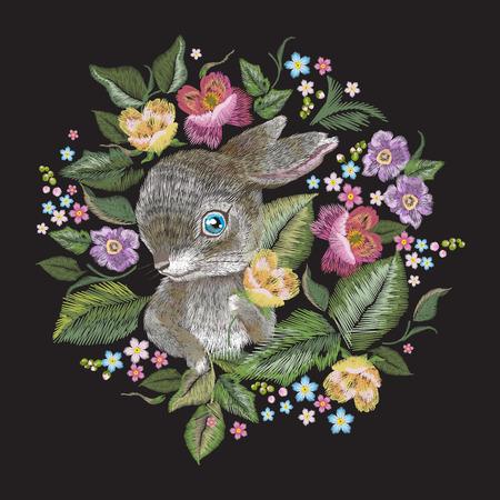 Stickerei bunten Trend Blumenmuster mit Kaninchen. Vector traditionelle Volksrosen Blumenstrauß und Hase auf schwarzem Hintergrund für Design. Standard-Bild - 83414759