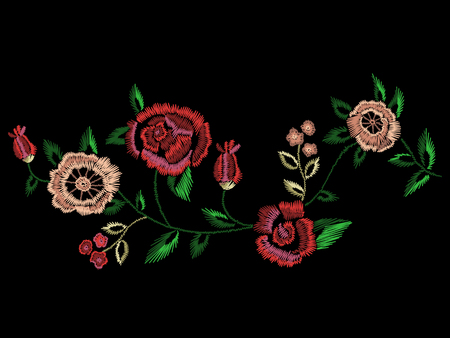 Embroidery native floral landscape pattern with simplified roses and forget me not flowers. Vector traditional folk ornament on black background for fashion design.
