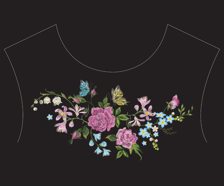Embroidery colorful ethnic neck line pattern with  roses, butterfly and lilies. Vector traditional folk floral design on black background for fashion wearing. Illusztráció