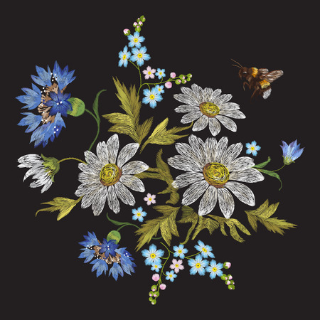 Embroidery trend floral pattern with chamomiles, cornflowers and bee. Vector embroidered folk flowers bouquet on black background for clothing design. Ilustrace