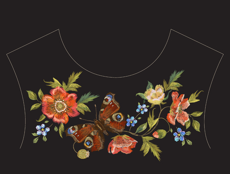Embroidery ethnic neck line pattern with poppies and butterfly. Vector floral embroidered design with flowers on black background for fashion clothing. Ilustrace