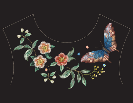 Embroidery colorful ethnic neck line pattern with flowers and butterfly. Vector traditional folk floral design on black background for fashion wearing.
