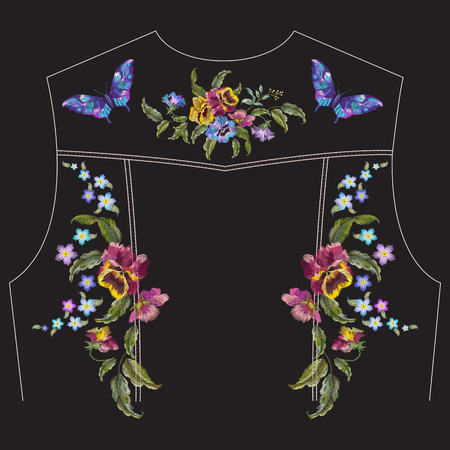 Embroidery floral pattern with pansies, forget me not flowers and butterflies for jeans jacket back. Vector traditional embroidered set with flowers on black background for clothing design.