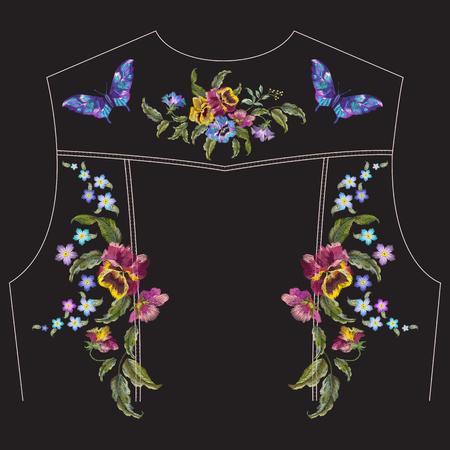 Motivo floreale a ricamo con viole del pensiero, dimenticare me non fiori e farfalle per la giacca di jeans indietro. Insieme ricamato tradizionale di vettore con i fiori su fondo nero per progettazione dell'abbigliamento.