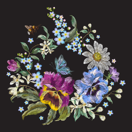 Embroidery trend floral pattern with pansies, chamomiles and forget me not flowers. Vector traditional embroidered garland with butterfly on black background for clothing design.