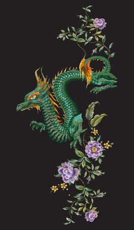 Embroidery oriental floral pattern with green dragon and roses. Vector ethnic folk  embroidered template with flowers and animal on black background for fashion design.