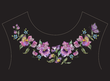 Embroidery colorful ethnic neck line pattern with pansies and butterfly. Vector traditional folk floral design on black background for fashion wearing.
