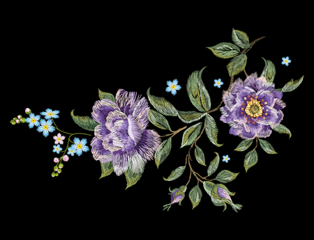 紫のバラの刺繍カラフルなトレンド花柄。伝統的な民俗のバラをベクトルし、私にない花ブーケ デザインの黒の背景を忘れてください。