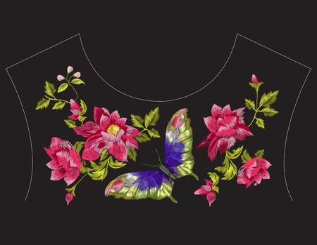 Embroidery ethnic neck line pattern with wild roses and butterfly. Vector traditional embroidered floral design with flowers on black background for fashion clothing.