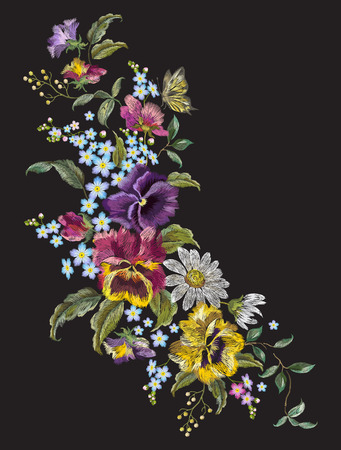 Embroidery vertical floral pattern with pansies, chamomiles and forget me not flowers. Vector traditional embroidered bouquet with butterflies on black background for clothing design. Ilustrace