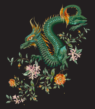 Embroidery oriental floral pattern with green dragon and gold roses. Vector ethnic folk embroidered template with flowers, orange blossom and animal on black background for fashion design.
