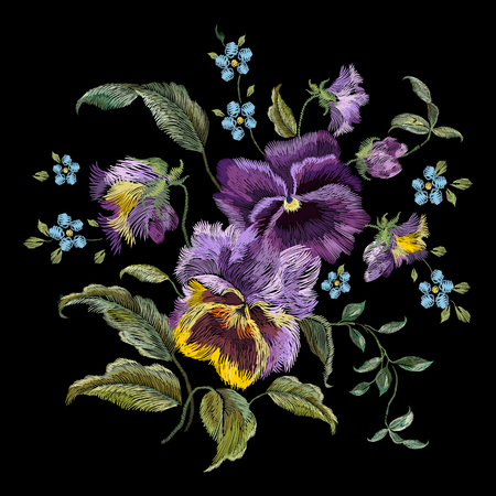 Embroidery colorful trend floral pattern with pansies and forget me not flowers. Vector traditional folk heartsease bouquet on black background for clothing design.