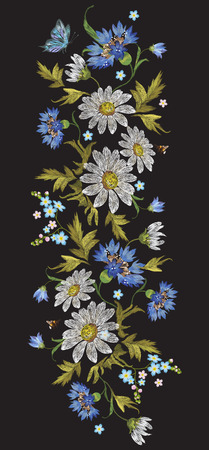 Embroidery trend floral pattern with chamomiles, cornflowers and butterfly. Vector embroidered folk flowers bouquet on black background for clothing design.