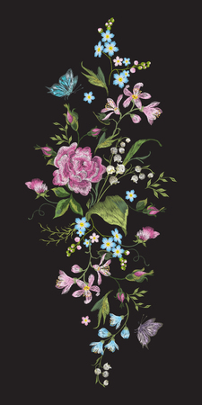 Embroidery colorful vertical floral pattern with roses and lilies of the valley. Vector traditional folk flowers bouquet on black background for neckline design.