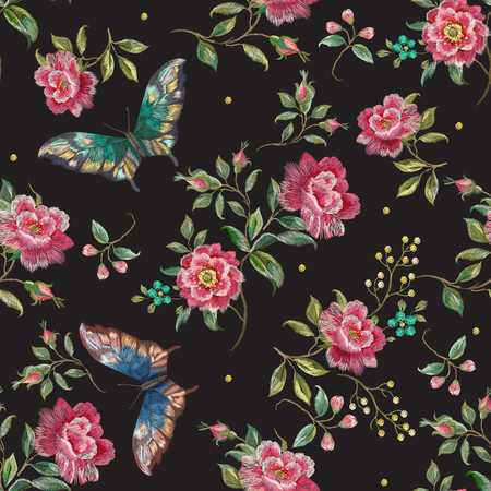Embroidery trend floral seamless pattern with roses and exotic butterflies. Vector traditional folk flowers decor on black background for clothing design.